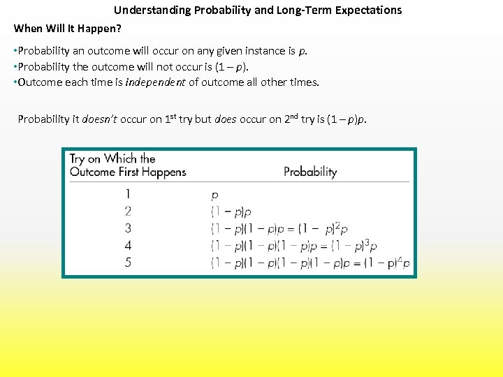 Understanding Probability and Long-Term Expectations When Will It Happen? • Probability an outcome will