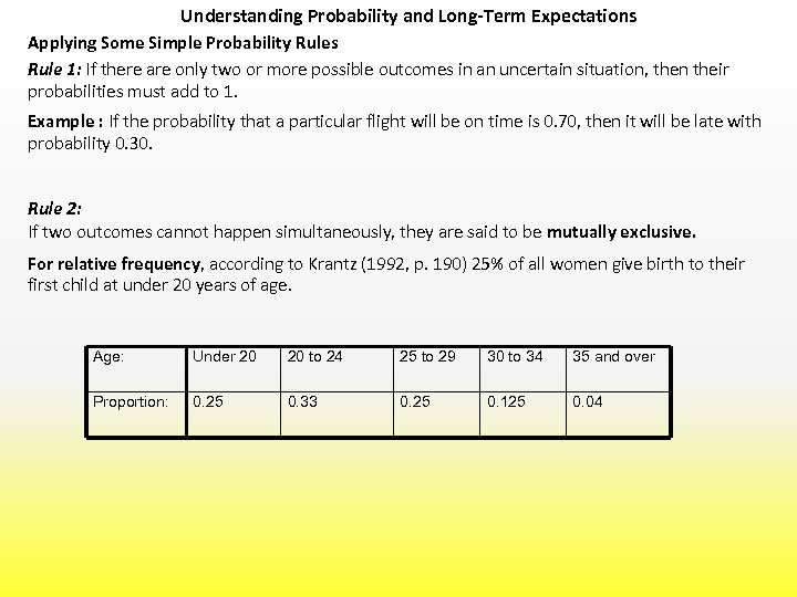 Understanding Probability and Long-Term Expectations Applying Some Simple Probability Rules Rule 1: If there