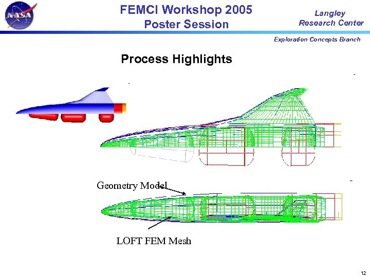 FEMCI Workshop 2005 Poster Session Langley Research Center Exploration Concepts Branch Process Highlights Geometry