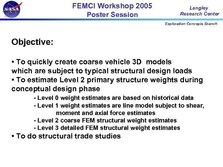 FEMCI Workshop 2005 Poster Session Langley Research Center Exploration Concepts Branch Objective: • To