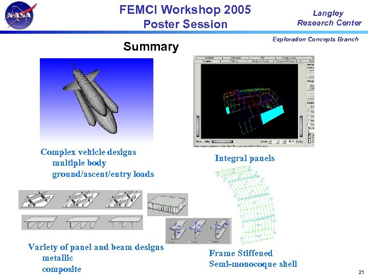 FEMCI Workshop 2005 Poster Session Summary Complex vehicle designs multiple body ground/ascent/entry loads Variety