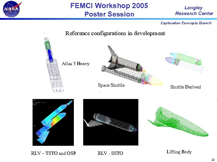 FEMCI Workshop 2005 Poster Session Langley Research Center Exploration Concepts Branch Reference configurations in