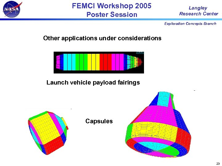 FEMCI Workshop 2005 Poster Session Langley Research Center Exploration Concepts Branch Other applications under