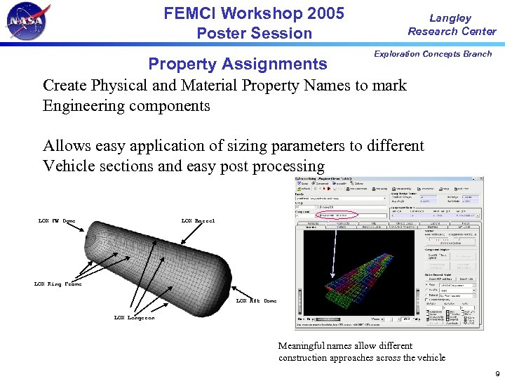 FEMCI Workshop 2005 Poster Session Langley Research Center Exploration Concepts Branch Property Assignments Create