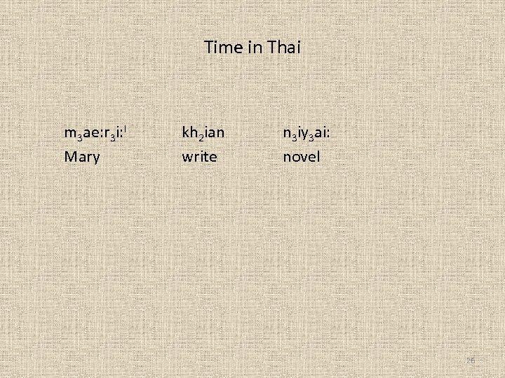 Time in Thai m 3 ae: r 3 i: I Mary kh 2 ian