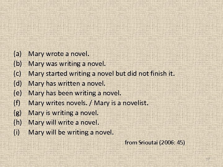 (a) (b) (c) (d) (e) (f) (g) (h) (i) Mary wrote a novel. Mary