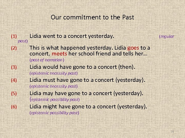 Our commitment to the Past (1) (2) past) Lidia went to a concert yesterday.