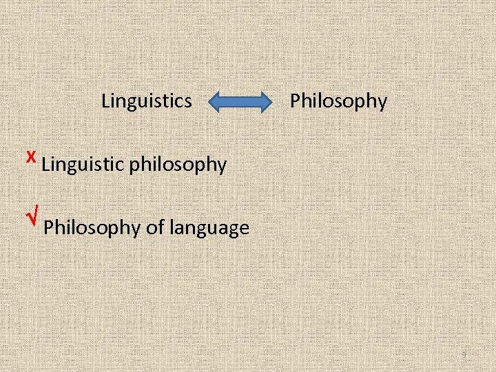 Linguistics Philosophy X Linguistic philosophy Philosophy of language 3
