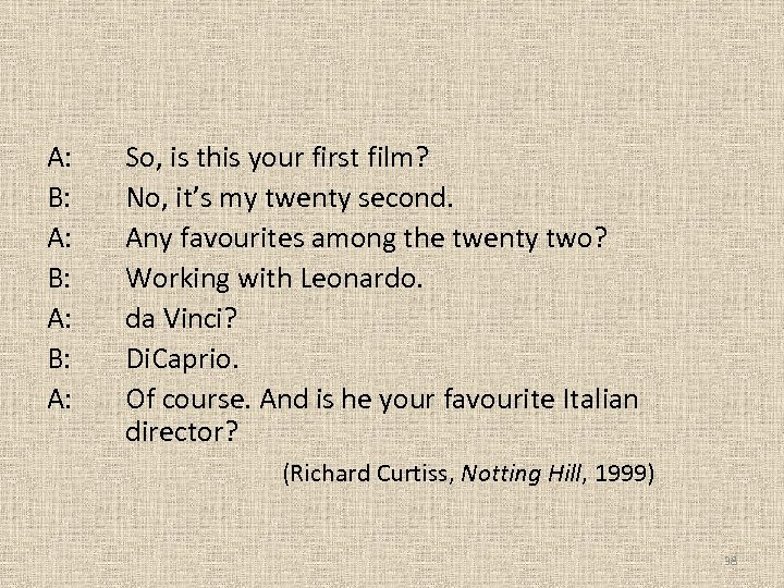 A: B: A: B: A: So, is this your first film? No, it's my