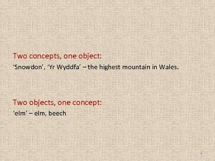 Two concepts, one object: 'Snowdon', 'Yr Wyddfa' – the highest mountain in Wales. Two