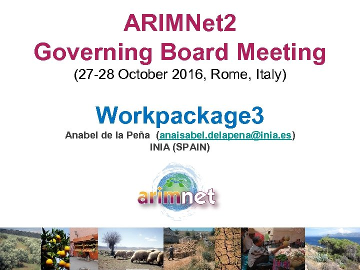 ARIMNet 2 Governing Board Meeting (27 -28 October 2016, Rome, Italy) Workpackage 3 Anabel