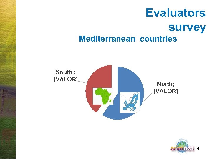 Evaluators survey Mediterranean countries South ; [VALOR] North; [VALOR] 14
