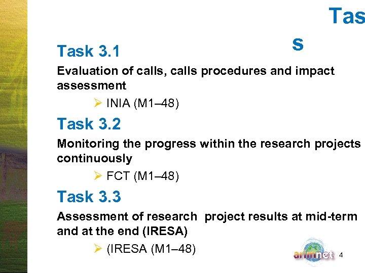 Tas Task 3. 1 s Evaluation of calls, calls procedures and impact assessment Ø