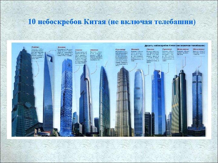 10 небоскребов Китая (не включая телебашни)