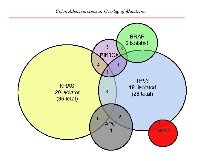 Colon Adenocarcinoma: Overlap of Mutations BRAF 6 isolated 3 3 PIK 3 CA 4