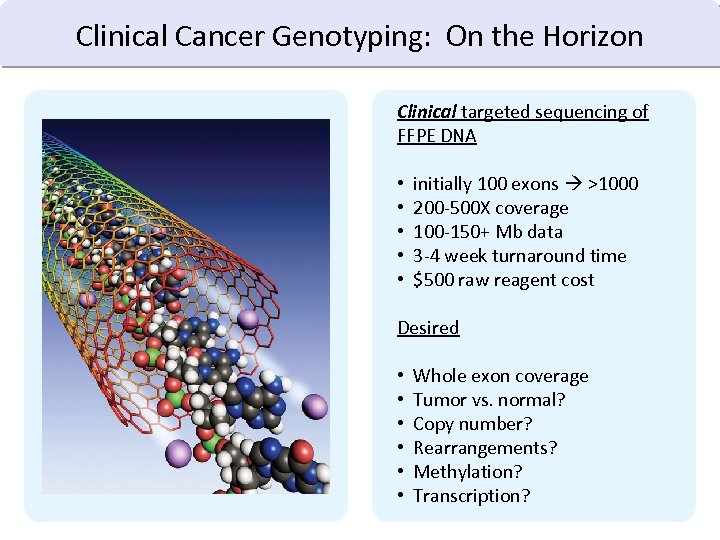 Clinical Cancer Genotyping: On the Horizon Clinical targeted sequencing of FFPE DNA • •