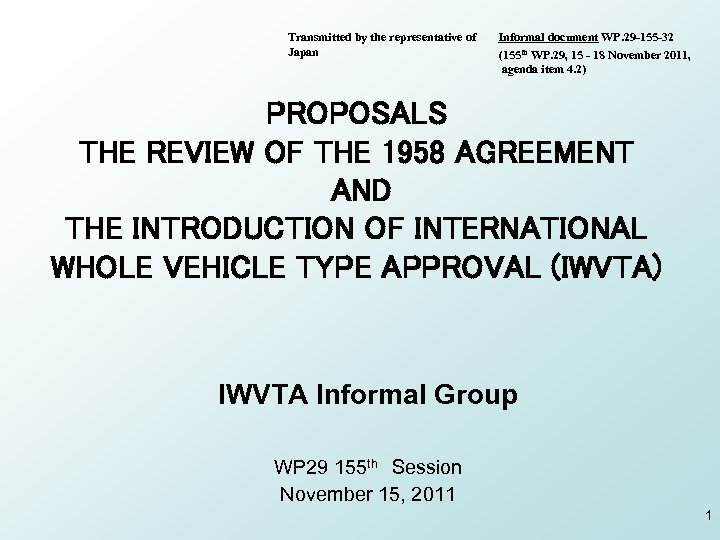 Transmitted by the representative of Japan Informal document WP. 29 -155 -32 (155 th