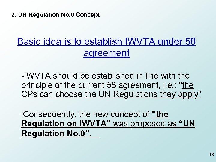 2. UN Regulation No. 0 Concept Basic idea is to establish IWVTA under 58