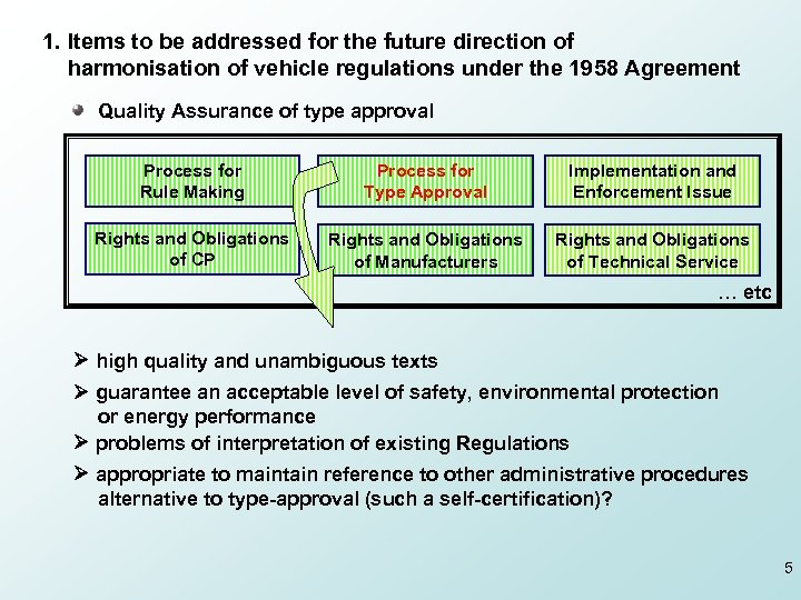 1. Items to be addressed for the future direction of harmonisation of vehicle regulations