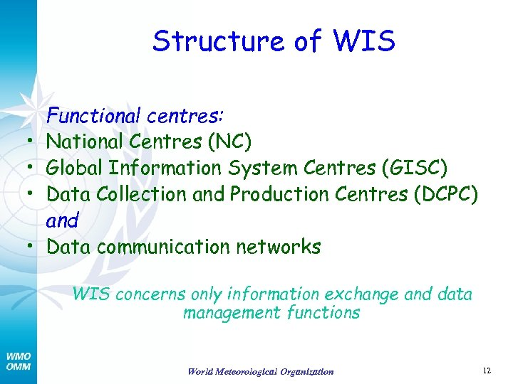 Structure of WIS • • Functional centres: National Centres (NC) Global Information System Centres