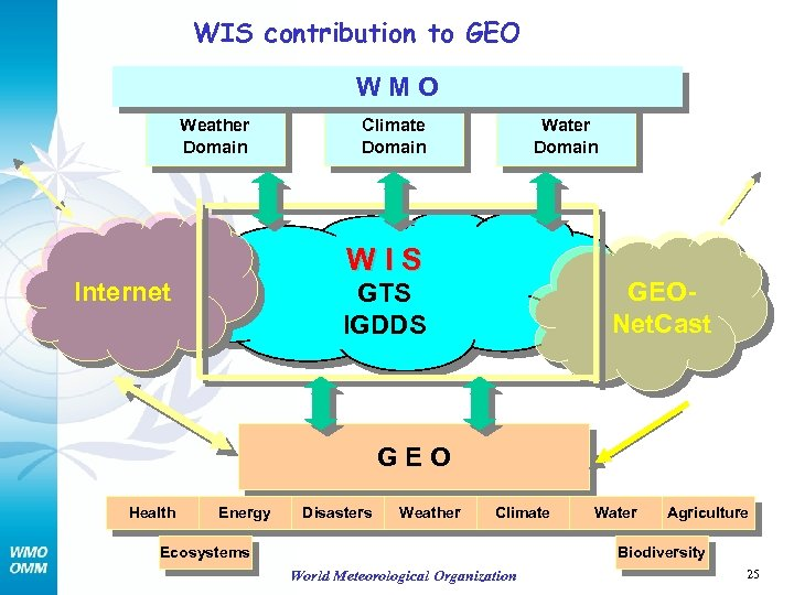 WIS contribution to GEO WMO Weather Domain Climate Domain Water Domain WIS Internet GEONet.