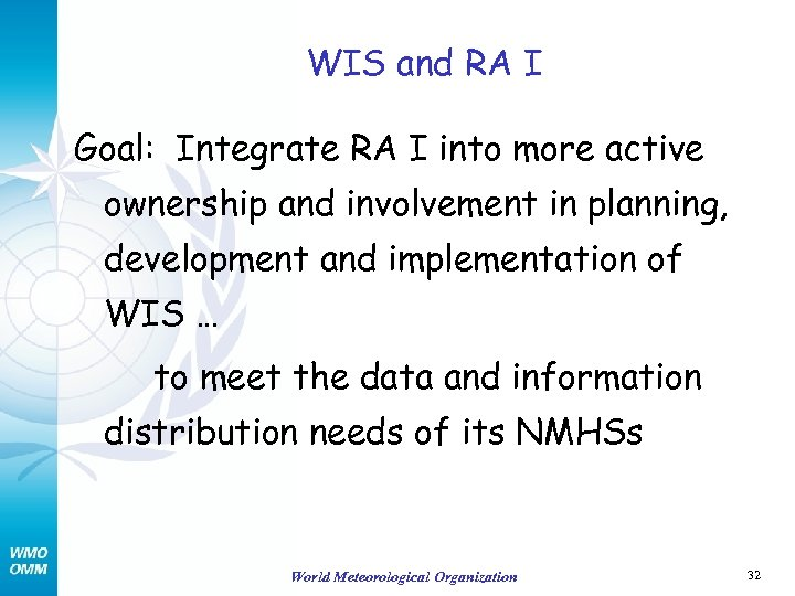 WIS and RA I Goal: Integrate RA I into more active ownership and involvement