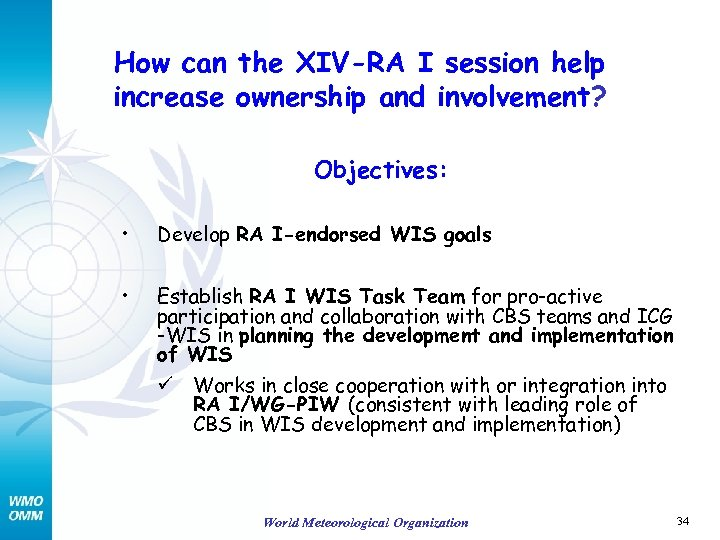 How can the XIV-RA I session help increase ownership and involvement? Objectives: • Develop