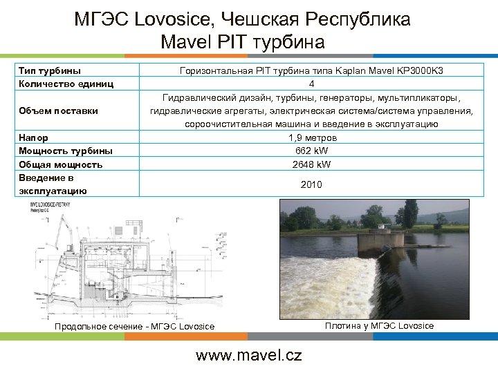 МГЭС Lovosice, Чешская Республика Mavel PIT турбина Тип турбины Количество единиц Объем поставки Напор