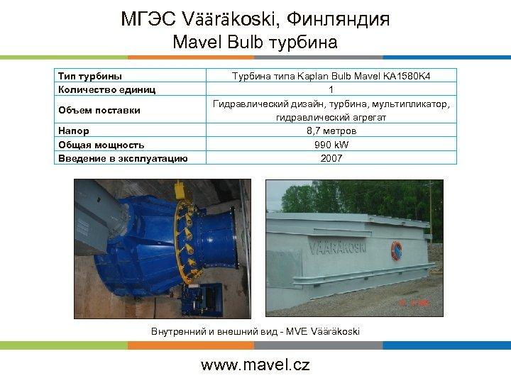 МГЭС Vääräkoski, Финляндия Mavel Bulb турбина Тип турбины Количество единиц Объем поставки Напор Общая