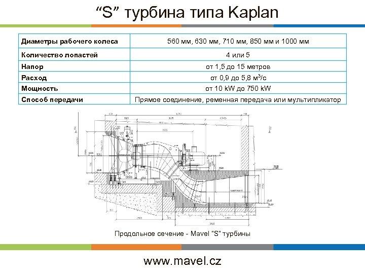 """S"" турбина типа Kaplan Диаметры рабочего колеса 560 мм, 630 мм, 710 мм, 850"