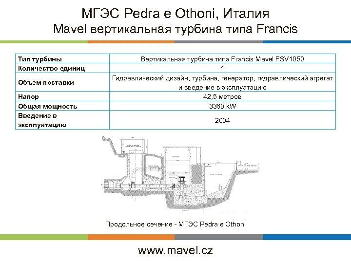 МГЭС Pedra e Othoni, Италия Mavel вертикальная турбина типа Francis Тип турбины Количество единиц