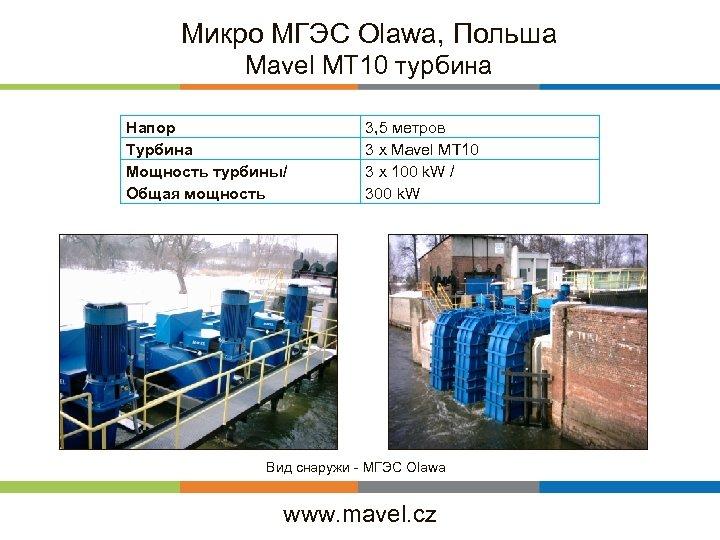 Микро MГЭС Olawa, Польша Mavel MT 10 турбина Напор Турбина Мощность турбины/ Общая мощность