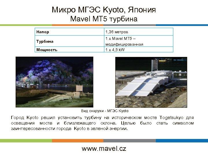 Микро МГЭС Kyoto, Япония Mavel MT 5 турбина Напор Турбина Мощность 1, 36 метров