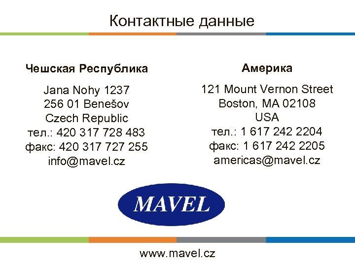 Контактные данные Чешская Республика Америка Jana Nohy 1237 256 01 Benešov Czech Republic тел.