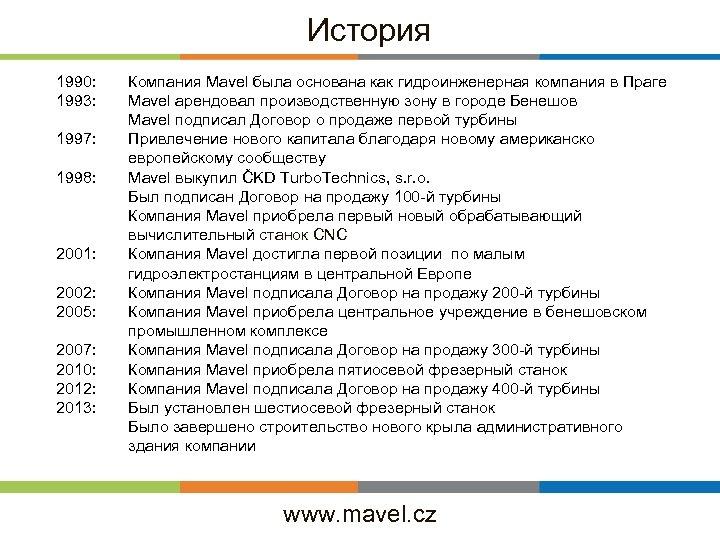 История 1990: 1993: 1997: 1998: 2001: 2002: 2005: 2007: 2010: 2012: 2013: Компания Mavel