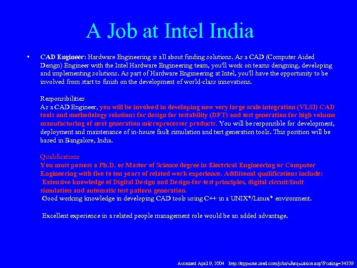 A Job at Intel India • CAD Engineer: Hardware Engineering is all about finding