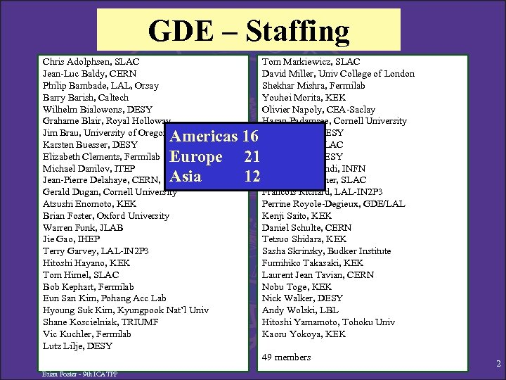 GDE – Staffing Chris Adolphsen, SLAC Jean-Luc Baldy, CERN Philip Bambade, LAL, Orsay Barry