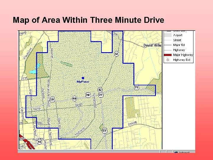 Map of Area Within Three Minute Drive
