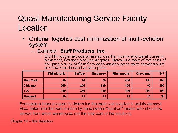 Quasi-Manufacturing Service Facility Location • Criteria: logistics cost minimization of multi-echelon system – Example: