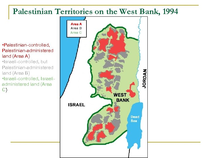 Palestinian Territories on the West Bank, 1994 • Palestinian-controlled, Palestinian-administered land (Area A) •