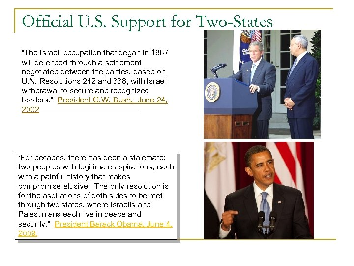 Official U. S. Support for Two-States