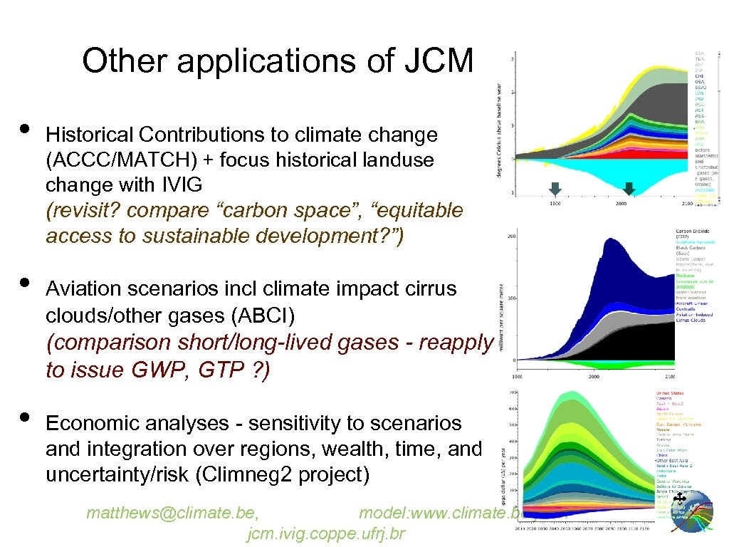 Other applications of JCM • • Historical Contributions to climate change (ACCC/MATCH) + focus