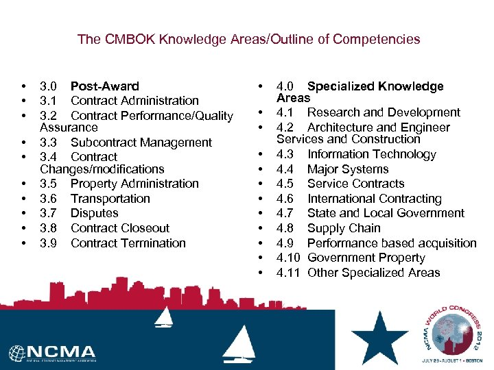 The CMBOK Knowledge Areas/Outline of Competencies • • • 3. 0 Post-Award 3. 1