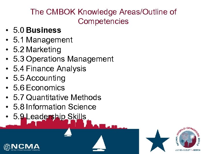 • • • The CMBOK Knowledge Areas/Outline of Competencies 5. 0 Business 5.
