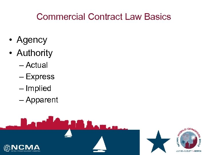 Commercial Contract Law Basics • Agency • Authority – Actual – Express – Implied