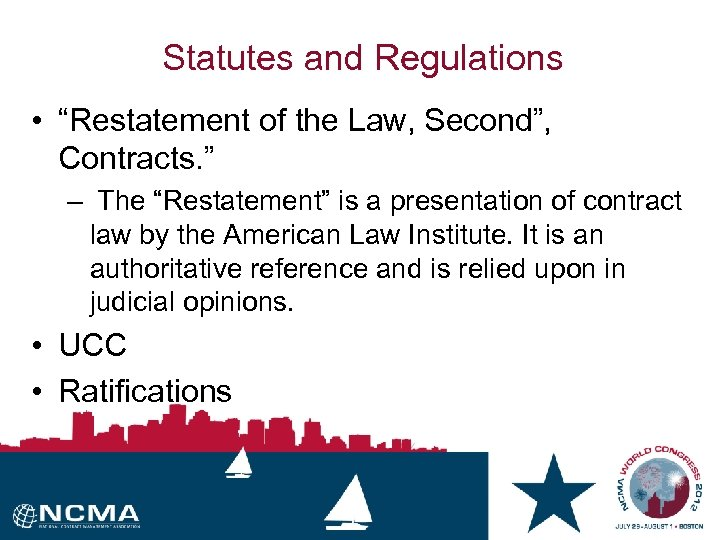 "Statutes and Regulations • ""Restatement of the Law, Second"", Contracts. "" – The ""Restatement"""