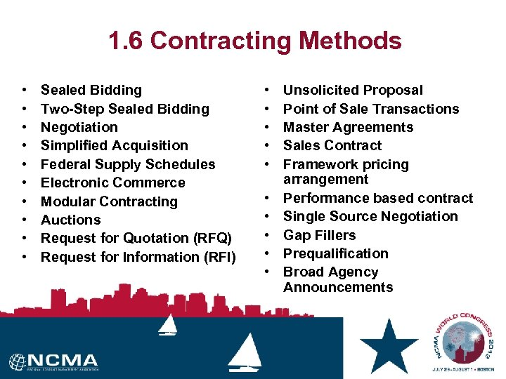 1. 6 Contracting Methods • • • Sealed Bidding Two-Step Sealed Bidding Negotiation Simplified