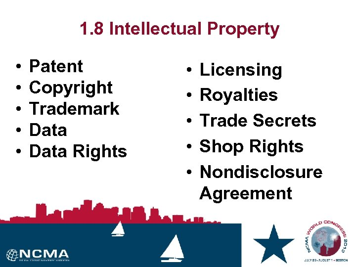 1. 8 Intellectual Property • • • Patent Copyright Trademark Data Rights • •
