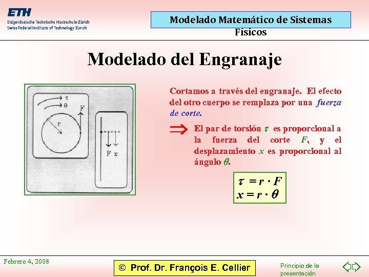 Modelado Matemático de Sistemas Físicos Modelado del Engranaje Cortamos a través del engranaje. El