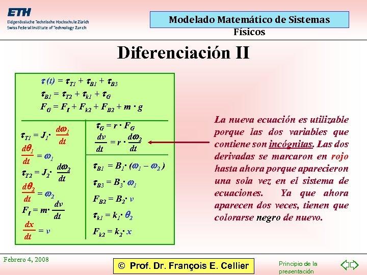 Modelado Matemático de Sistemas Físicos Diferenciación II t (t) = t. T 1 +